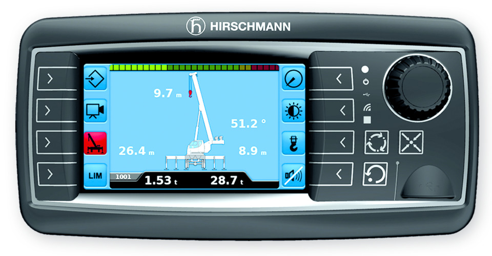 The qSCALE I2/I3 load moment indicator provides the crane operator with a graphic display of the crane's current load and geometric information.
